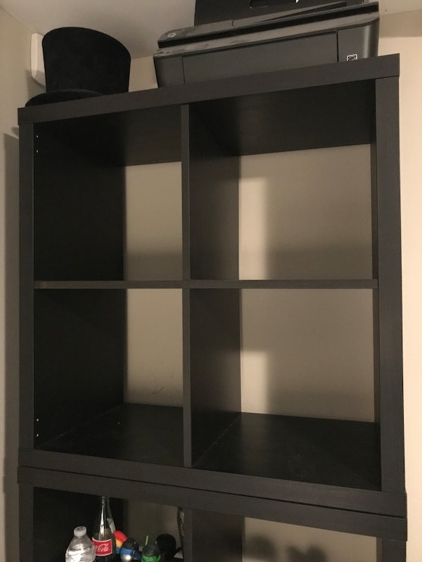 "(2) 4-Cube Organizer + Bookshelf  (Dark Wood) (Dim. W30""xH30"") (each $40)"