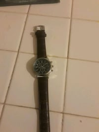 round silver chronograph watch with black leather strap Woodbridge, 22193