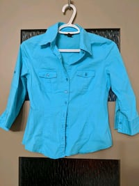 Blue and a white blouse size small $5 each Calgary, T2E 0B4