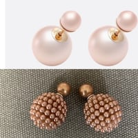 Double ball beaded earrings in pink rose gold colour Vancouver, V6E 1W1