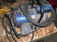 blue and black corded power tool