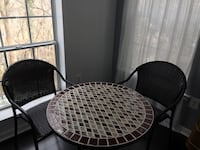 Plastic rattan chairs outdoor table brown & beige Stafford, 22554