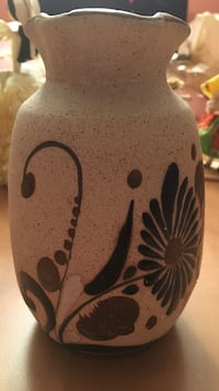 white and black floral clay pot Toronto, M6M 1T2
