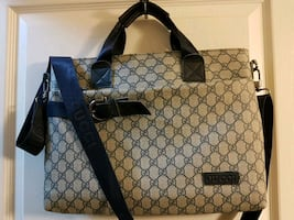 Authentic Gucci Leather Trim Monogram Attache Bag