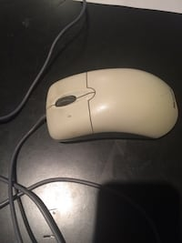 white corded computer mouse