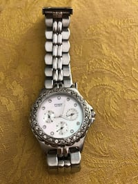 round silver-colored analog watch with link bracelet Davie, 33325