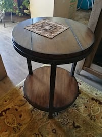 round brown wooden side table CALGARY