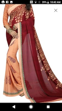 women's red and brown sari dress
