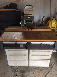 Black and gray craftsman table saw