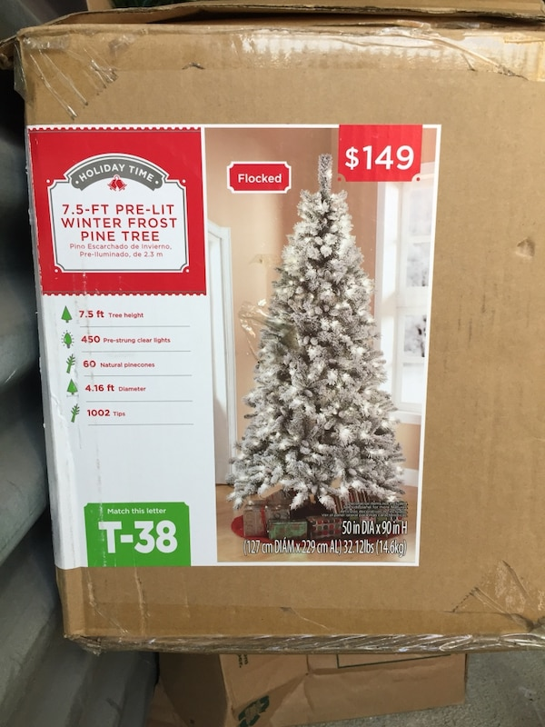 more photos 94945 bc58b holiday time 7.5 ft pre lit winter prost pine tree