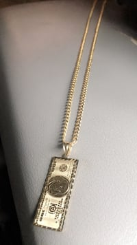 14k real gold cuban chain with the hundred doller bill charm Pasadena, 91105