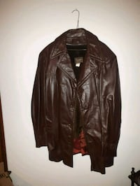 Men's Brown Size 52 Leather Dress Coat Smithville, L0R