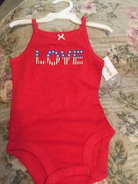 Red and white onesie 6 mos 9 mos carters girls