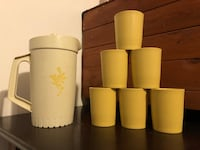 Vintage Kids Tupperware Pitcher And Cups