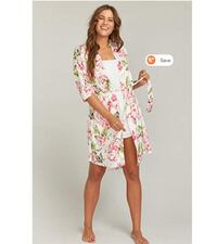 Show Me Your Mumu Brie Robe Garden Of Blooms Pink Floral One Size Wrap Robe NIP