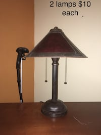 brown wooden base with white lampshade table lamp Fairfax Station, 22039