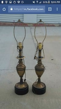 two brass table lamps Augusta