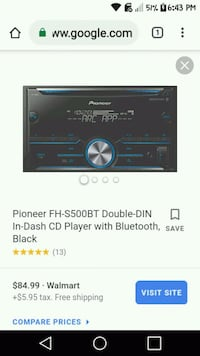 black Pioneer 2-DIN car stereo with Bluetooth 828 mi