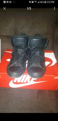 pair of black Nike high top sneakers on box St. Catharines, L2S 1E9
