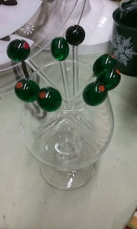 three green and red glass candle holders Tucson, 85712