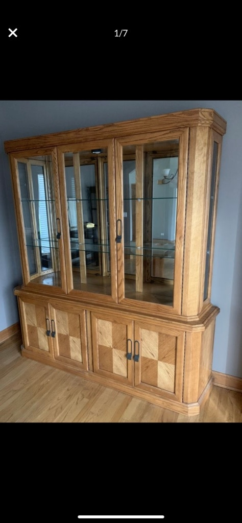 Gebrauchte Solid Oak China Cabinet Hutch Or Bottom Used As A Large ...