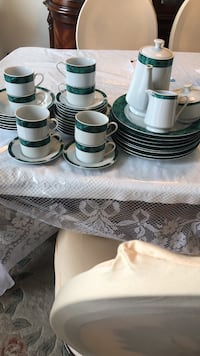 white ceramic plates and cups
