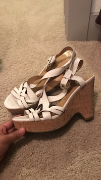 pair of white and brown ankle strap platform chunky heels College Station, 77845