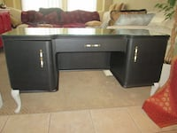 ANTIQUE Buffet, Desk or Console w/ Glass Top Whitchurch-Stouffville