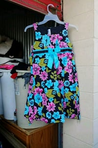 women's black and pink floral sleeveless dress Meridian, 39307
