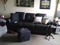 black leather 3-seat couch Calgary
