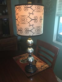 Silver table lamp with brown and black drum lamp shade, very cute! Ocala, 34472