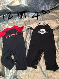 two red and gray longsleeve footie pajamas Winchester, 22656