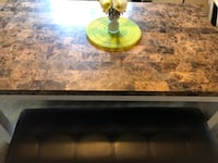 Marble dining table & 2 benches 2 chirs