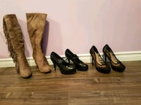 Never used boots $30.Waterproof red boots$45.black shoes $20. Toronto, M9N 3G4