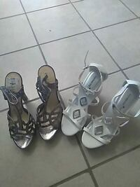 two pairs of black and white leather sandals El Paso, 79938