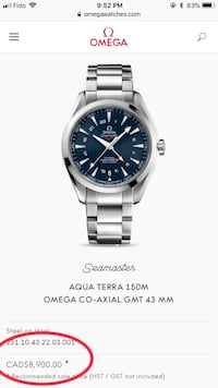 NEW Omega 43mm Seamaster GMT Aqua Terra