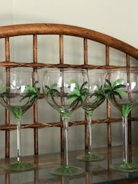 4 Wine glasses, hand painted palm trees on glass
