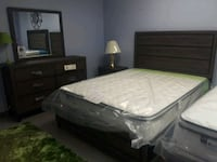white mattress and black wooden bed frame Dallas, 75287