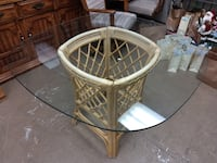 26529 Glass Dining Table with Rattan Base / Square Kitchen Table 60081
