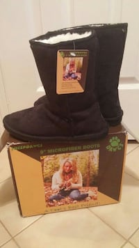 "pair of women's 9"" brown Microfiber suede sheepskin boots with box"