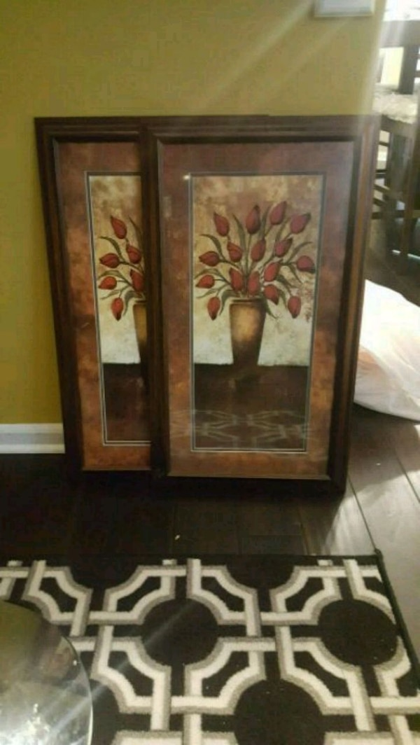 Used Brown Wooden Framed Painting Of Flowers For Sale In