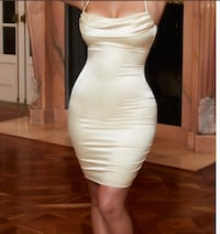 Creme white silk dress Beaverton