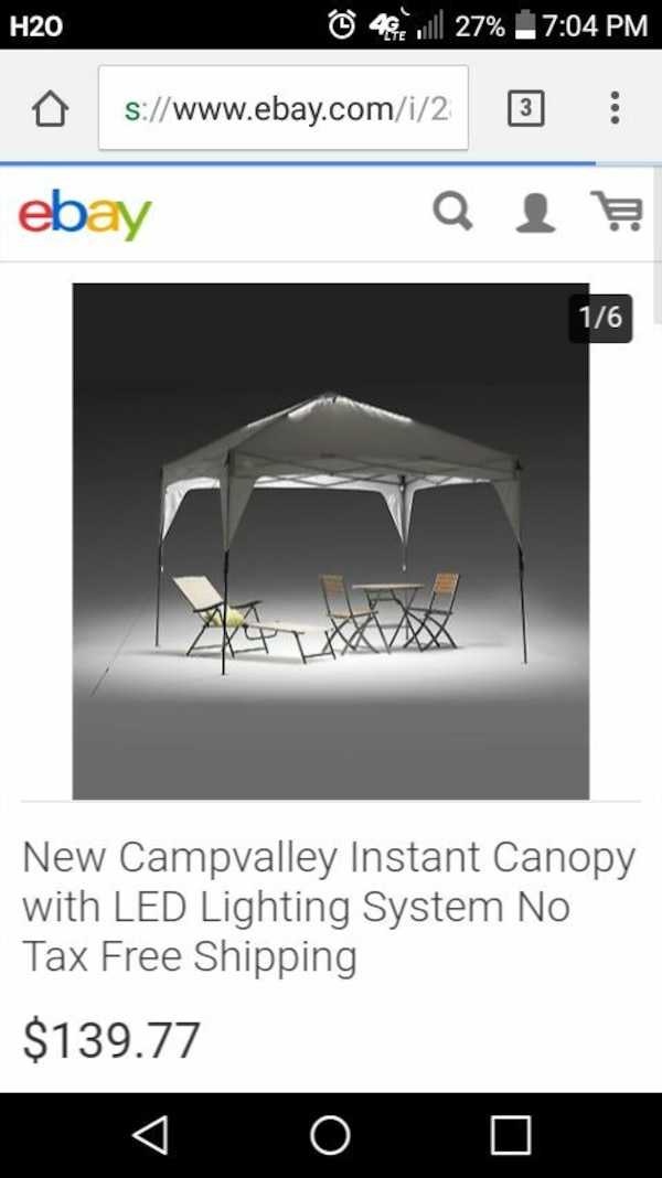white New Campvalley instant canopy with LED lightning system screenshot