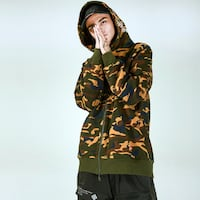 TOGETHER LIMITED ANDES MARTIN DETACHABLE CAMOUFLAGE HOODIE SWEATSHIRT