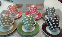 bodum demi-tasse cups with matching saucers. polka dots are very trendy and eye-catching. make me an offer TORONTO