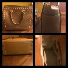 women's 4 collage picture of brown Michael Kors leather handbag