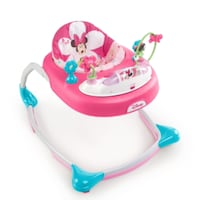 baby's white and pink Disney Minnie Mouse walker