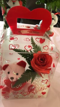 red and pink teddy bear love plush toy and artificial rose gift set Riverside, 92501