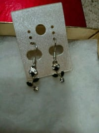 pair of silver-colored earrings with black gemstones Edmonton, T6W 1J4