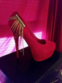 pair of red suede platform stilettos Kansas City, 64154